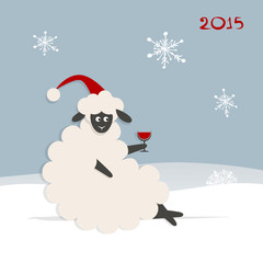 Funny sheep santa, symbol of new year 2015