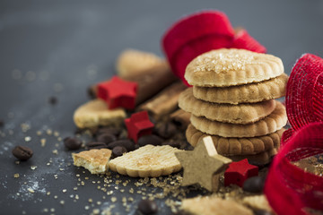 Christmas cookies, coffee beans and sugar