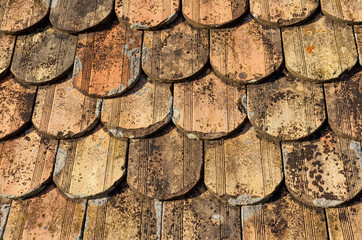 old oval roof tiles