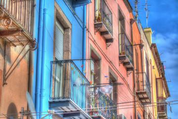 colorful facades in Bosa, Italy