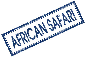 african safari blue square stamp isolated on white background