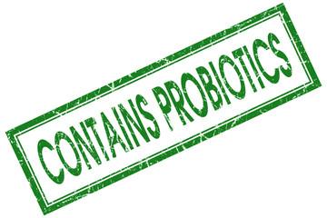 contains probiotics green square stamp