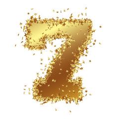 Goldene Zahl, Sieben, 7, Sterne, Glamour, Gold, Nummer, Ziffer