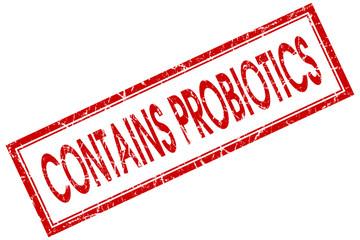 contains probiotics red square stamp
