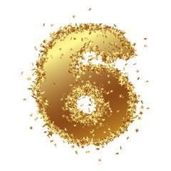 Goldene Zahl, Sechs, 6, Sterne, Glamour, Gold, Nummer, Ziffer