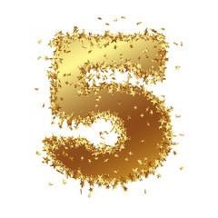 Goldene Zahl, Fünf, 5, Sterne, Glamour, Gold, Nummer, Ziffer