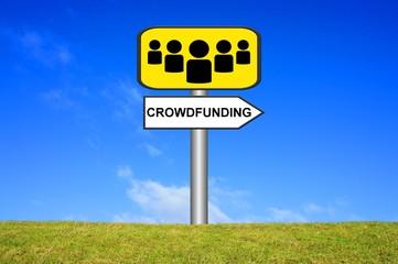 Schild Wegweiser: Crowdfunding