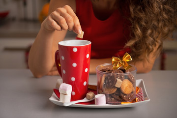 Closeup on young woman with christmas snacks
