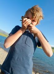 Boy caught grayling
