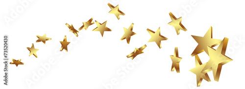 Leinwandbild Motiv Sternschnuppe, Goldstern, Gold, Sterne, Schweif, Komet, Star, 3D