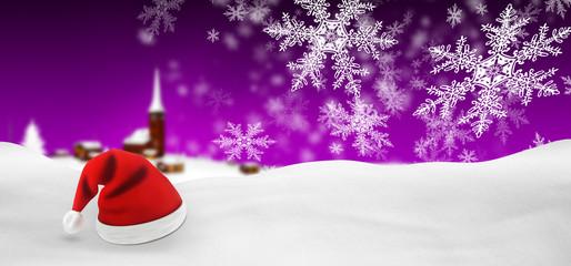 Weihnachtskarte, Panorama, violett, lila, Weihnachtsmütze, BG