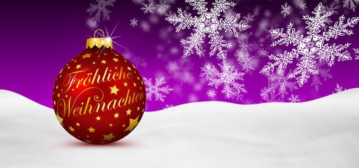 Weihnachtskarte, Panorama, violett, lila, Weihnachtskugel, BG