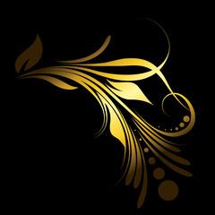 Abstract Golden Floral Design Element
