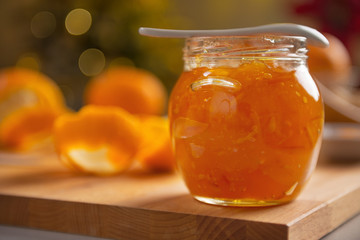 Closeup on jar with orange jam