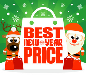 Best New Year Price card with deer and Santa ,vector