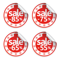 Set  New Year of stickers sale vector