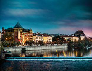 view of the evening Prague