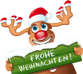 lustiges Rentier mit Schild Frohe Weihnachten