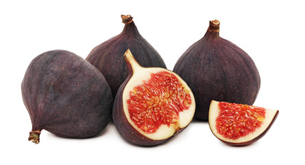 Three whole and a half ripe figs (isolated)