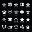 Stars white icons with reflection isolated on black