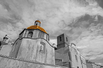 Cathedral of the Immaculate in Bosa in selective desaturation
