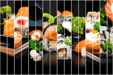 collage of photos of sushi