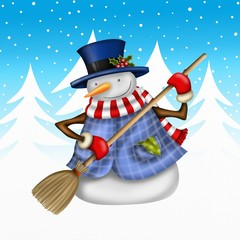 snowman with broom and fir trees in the background