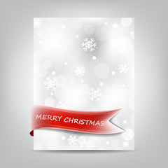 Christmas template, paper banner with red ribbon and snowflake