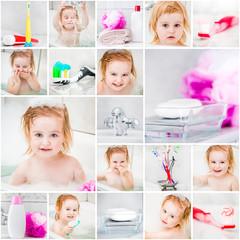 little cute girl takes a bath