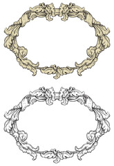 Vector retro  ornate borders at engraving style.
