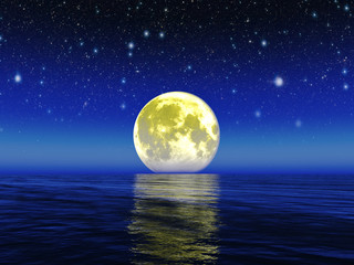Night moon.Elements Of This Image Furnished By Nasa.