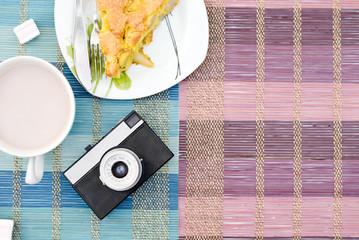 apple pie, cup of hot cocoa and retro camera
