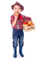 Little farmer boy tasting fresh apple