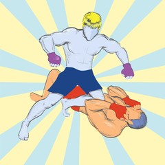 fighting without rules, vector, pop art