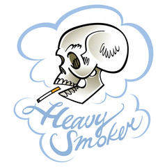 Heavy smoker - human skull with cigarette