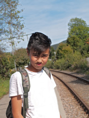 boy at the train station