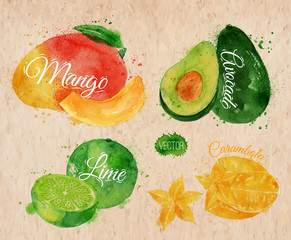 Exotic fruit watercolor mango, avocado, carambola, lime in kraft