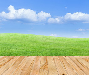 Wood floor with green fields and blue sky background