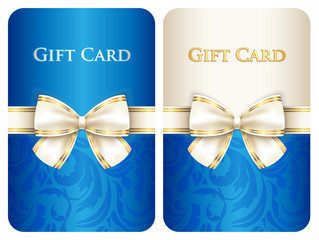 Blue vertical gift card with damask ornament