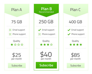Pricing list for 3 plans in light flat design