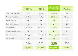 Modern grey pricing table with green recommended plan