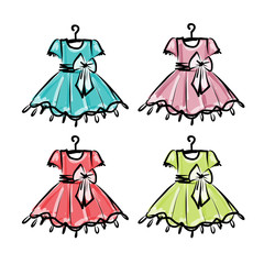 Baby dress on hangers for your design