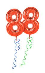 Rote Luftballons mit Geschenkband - Nummer 88