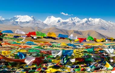 View of the Himalayan mountains. Tibet