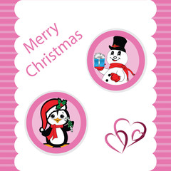 Pink Christmas with a Penguin and Snowman