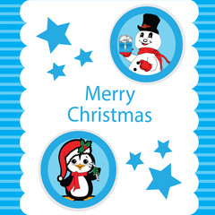 Blue Christmas with a Peguin and Snowman