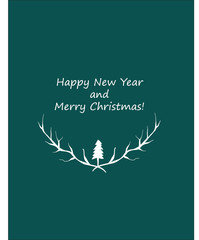 """vector card """"Happy New Year and Merry Christmas"""""""