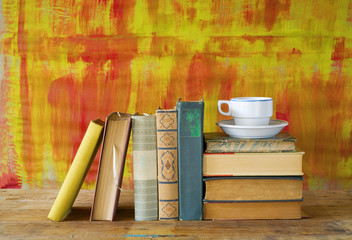 old books and a cup of coffee, free copy space