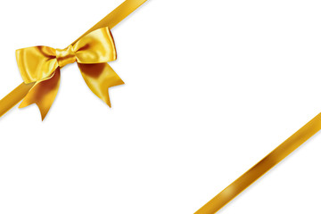 Yellow gift ribbon on white background