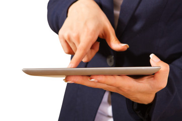 Young woman showing tablet PC,